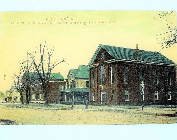 1907 Methodist Episcopal Church Town Hall Florence New Jersey Vintage Postcard Posted