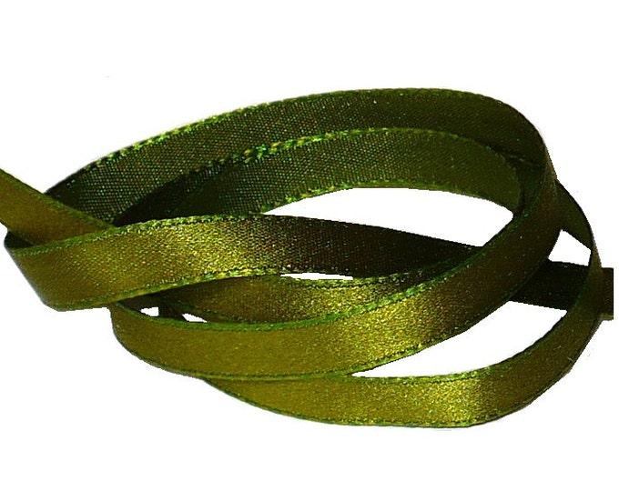 """Regency Changeable Taffeta Green Silk Satin Ribbon 3/16"""""""
