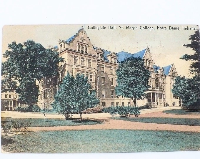 1908 St Mary's Women's College Collegiate Hall Notre Dame Indiana Vintage Postcard