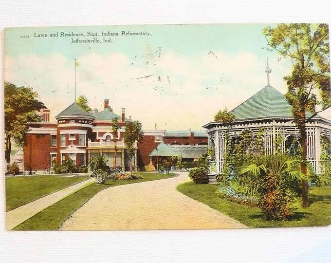 1909 Lawn Residence Supt Indiana Reformatory Jeffersonville Vintage Postcard Posted