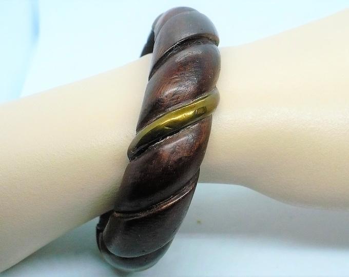 Hand Carved Teak Wood Brass Inlay Bangle Bracelet