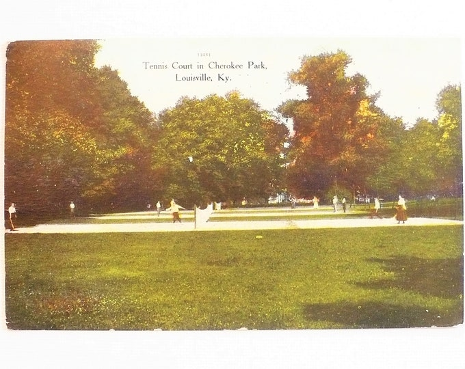 1909 Tennis Court Cherokee Park Louisville Kentucky Postcard Posted