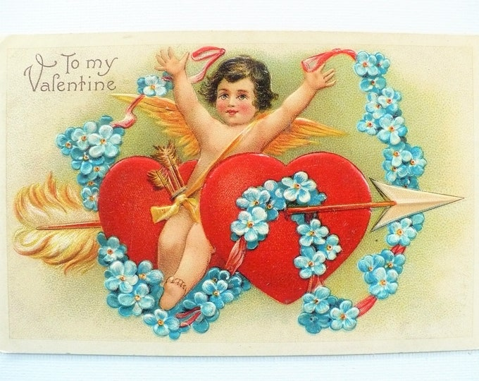 1909 To My Valentine Embossed Hearts Cupid Forget-Me-Not Flowers Vintage Holiday Postcard Posted