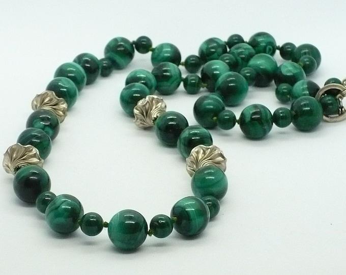 Malachite Gemstone Silver Bead Necklace 28 inch