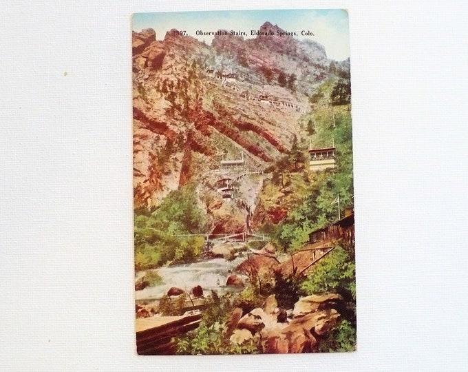 1909 Observation Stairs Eldorado Springs Colorado Vintage Postcard Posted