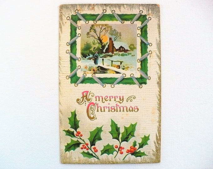1910 Merry Christmas Holiday Embossed Vintage Postcard Posted