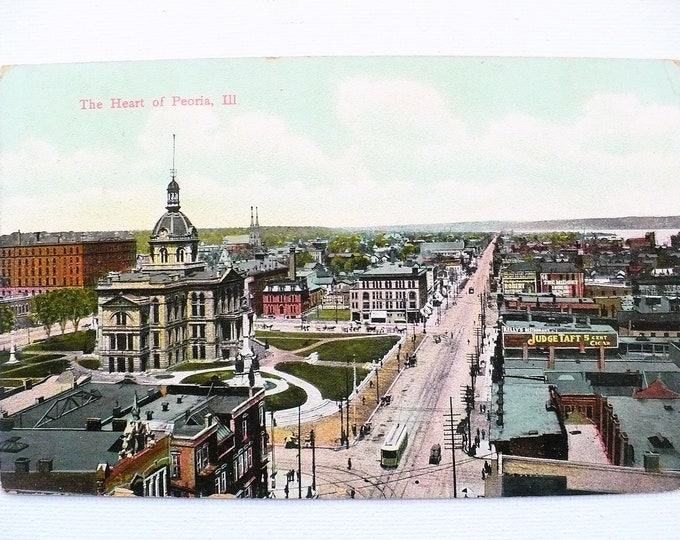 1909 Heart of Peoria Illinois River City Vintage Postcard Posted