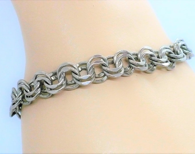 """Sterling Silver Double Chain Link Beveled Edge Charm Bracelet """"LANG"""" Vintage Jewelry"""
