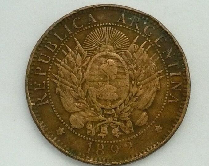 Argentina 1892 Dos 2 Centavos Bronze Error Coin