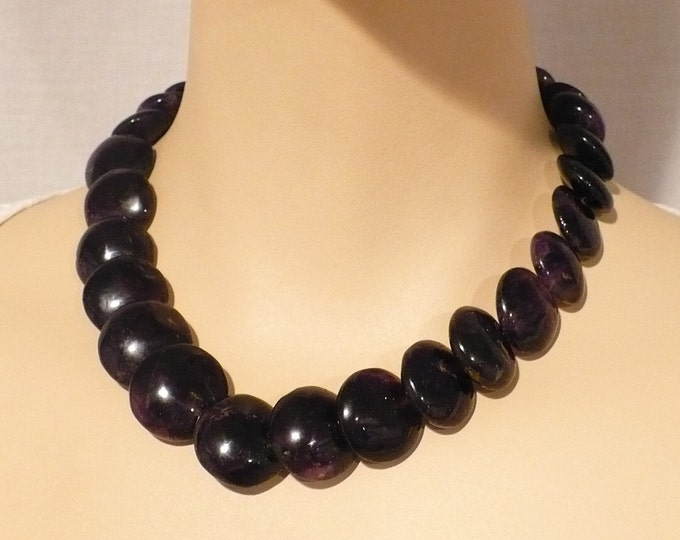 Iolite Overlapping Gemstone Coin Bead Necklace 16 inch