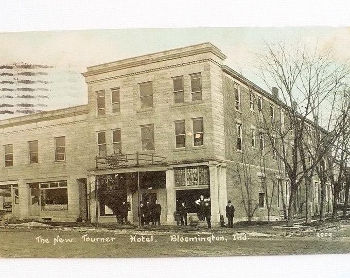 1909 New Tourner Hotel Bloomington Indiana Vintage Postcard Posted