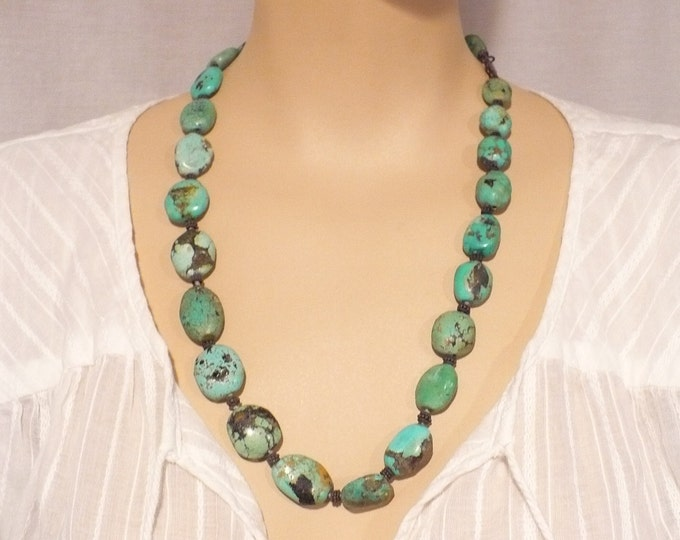 Vintage Natural Chinese Turquoise Bead Necklace 24 inch