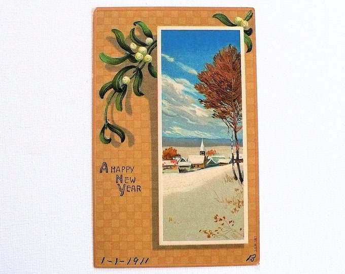 1910 Happy New Year Holiday Embossed Vintage Postcard Posted