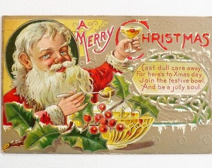 1910 Merry Christmas Santa Holiday Embossed Vintage Postcard Posted