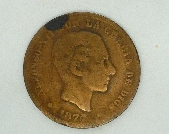 Spain Espana 1877 5 Cinco Centimos - Alfonso XII Coin