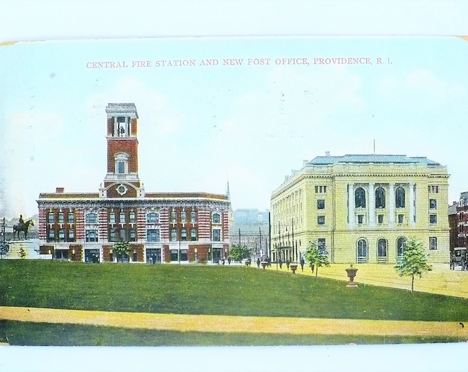 1907 Central Fire Station New Post Office Providence Rhode Island Vintage Postcard