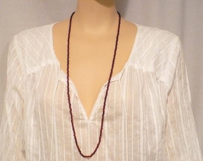 Red Garnet Bead Necklace 34 inch