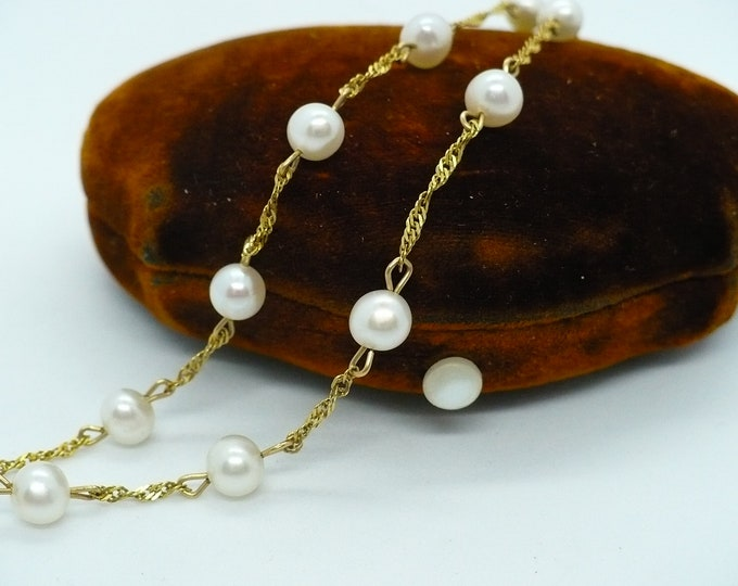 5mm Pearl 14k Gold Necklace 15 inch