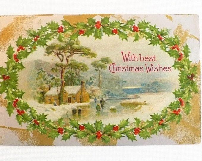 1910 With Best Christmas Wishes Holiday Embossed Vintage Postcard Posted