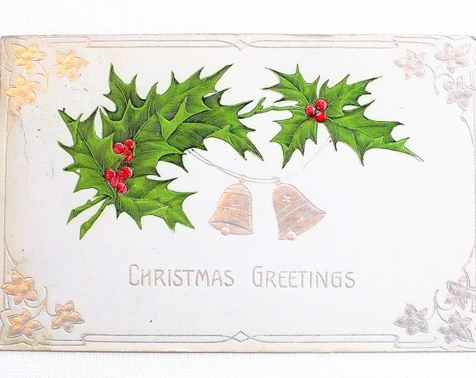 1910 Christmas Greetings Holly Silver Bells Holiday Embossed Vintage Postcard Posted