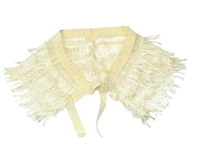 1930's Vintage White Silk Lace Shawl Collar