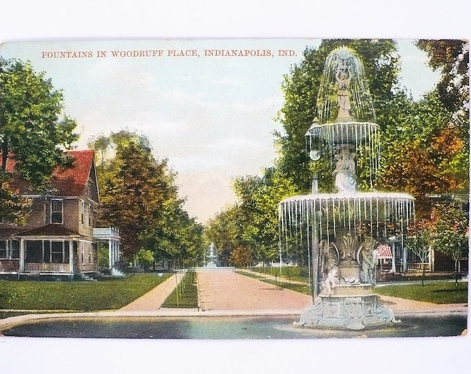 1907 Fountains in Woodruff Place Indianapolis Indiana Vintage Postcard Posted