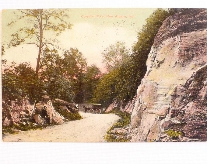 1909 Corydon Pike New Albany Indiana Horse Buggy Vintage Postcard Posted