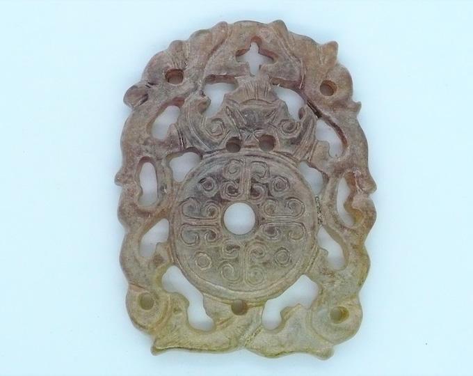 Carved  Shoushan Stone Dragon Bi Disc Amulet Vintage Chinese Import Jewelry