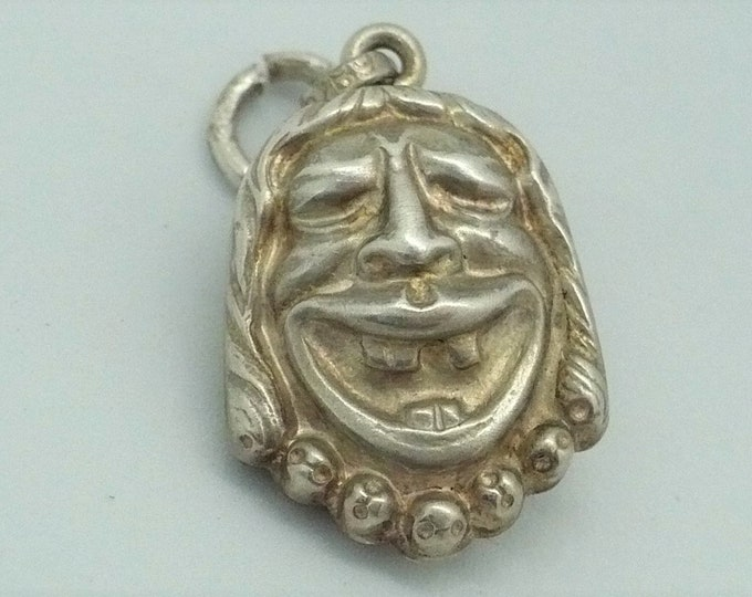 Comedy Tragedy Sterling Silver Flip Charm Pendant