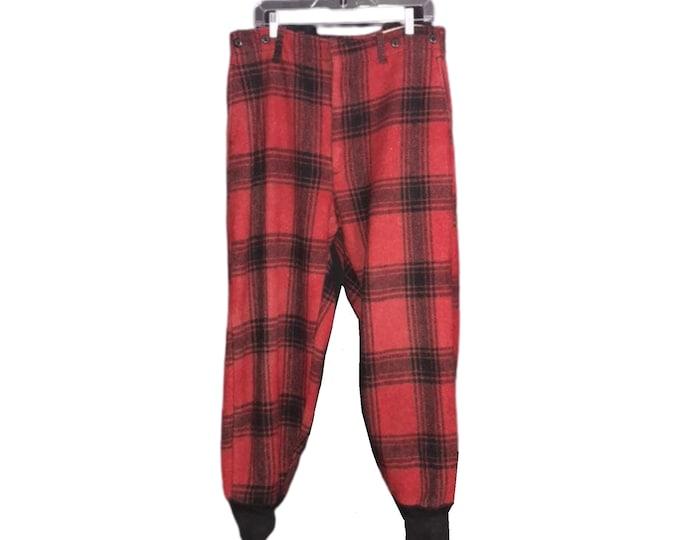 Mackinaw Plaid Mens Wool Hunting Pants 1940's Vintage Men's Pants