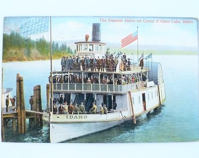 1909 Union Jack Flag Steamboat Steamer Idaho Couer d'Alene Lake Idaho Vintage Postcard