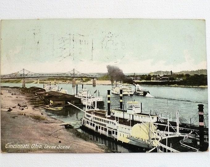 1909 Steamboats Cincinnati Ohio Levee Vintage Postcard Posted