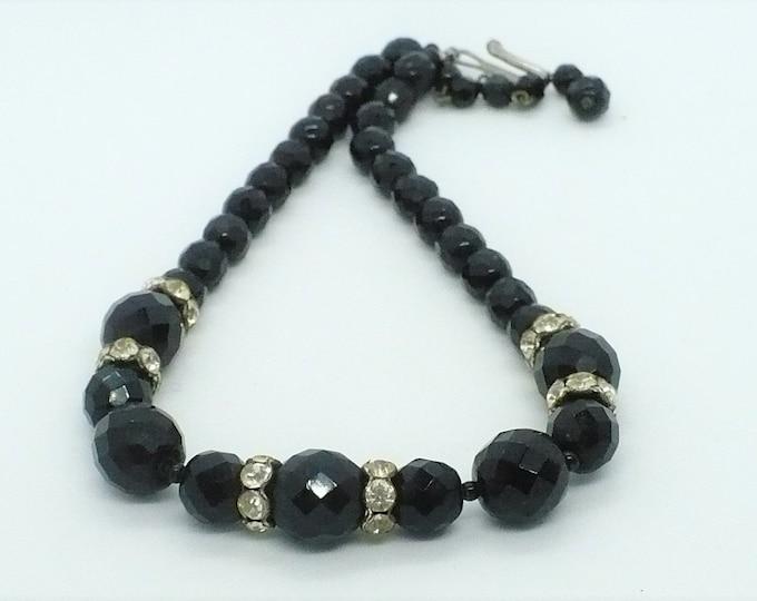 Black Czech Glass Bead Vintage Necklace