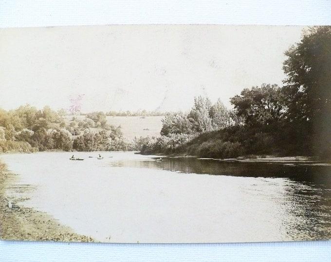 1909 Tippecanoe River Handwritten Fishing Poem on Back Camden Indiana Vintage Postcard Posted