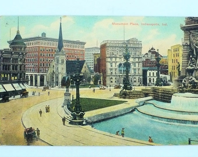1909 Monument Place Indianapolis Indiana Vintage Postcard Unposted