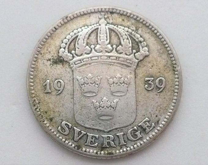 Sweden 1939 50 Ore Silver Coin