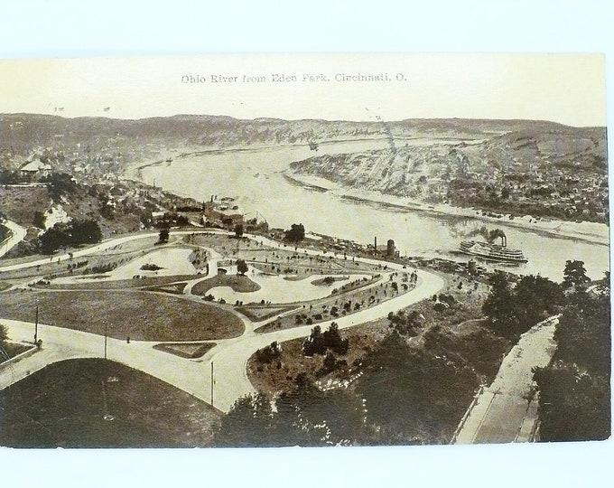 1908 Steamboat Ohio River from Eden Park Cincinnati Ohio Vintage Postcard Posted