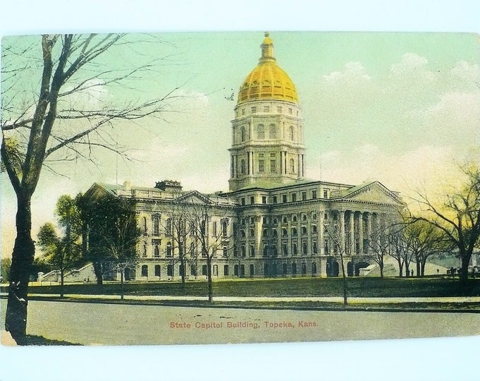 1907 State Capital Building Topeka Kansas Vintage Postcard Posted