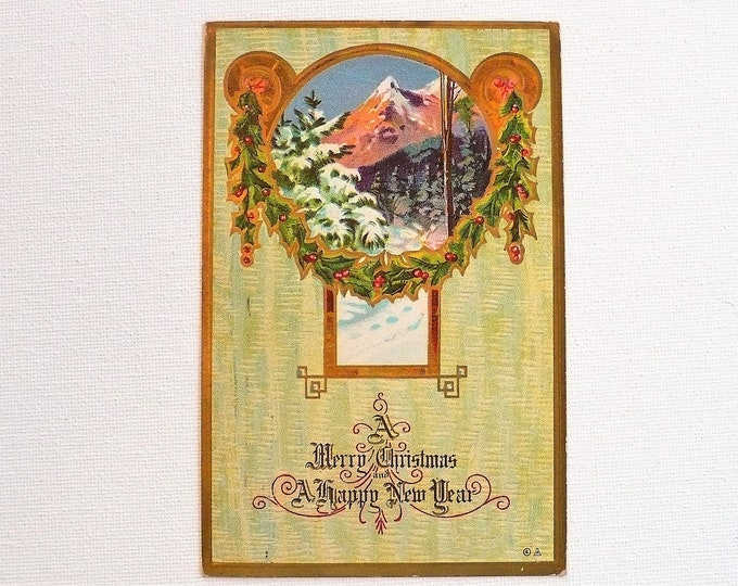 1910 Merry Christmas Happy New Year Gilded Embossed Vintage Postcard Posted