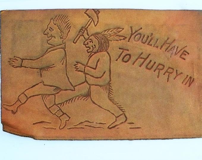 1900s Vintage Leather Comic Postcard Unposted