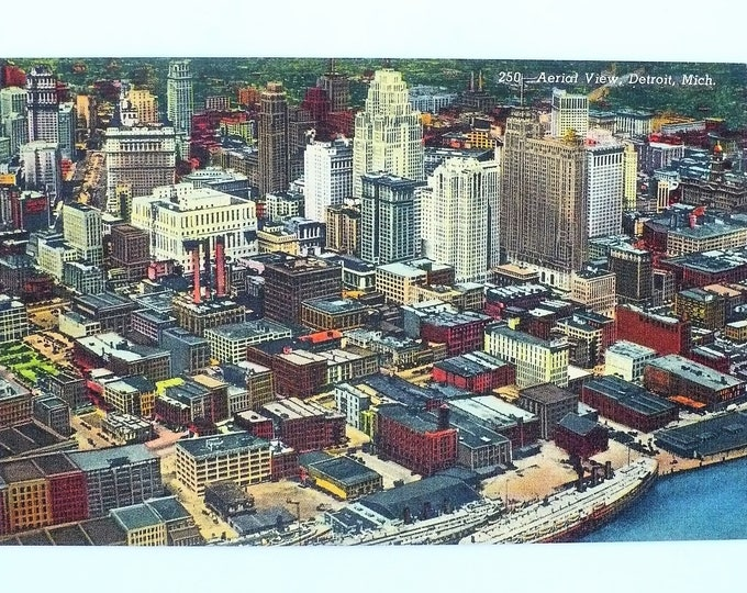 1943 Aerial View Detroit Michigan Vintage Linen Postcard Unposted