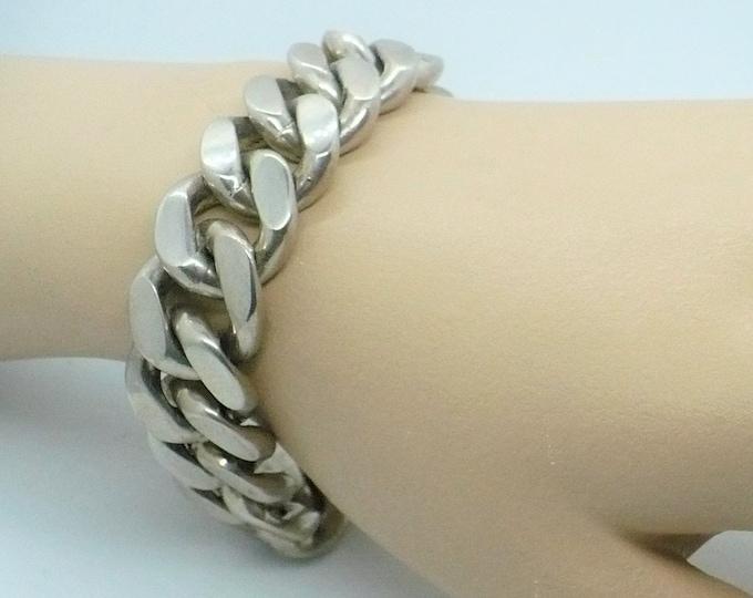 Sturdy Silver Cuban Link Bracelet Vintage