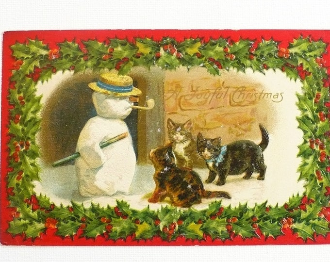 1910 Christmas Snowman Kittens Holly Holiday Embossed Vintage Postcard Posted