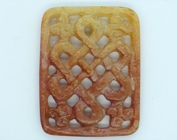 Carved Endless Knot Shoushan Stone Amulet Vintage Chinese Import Jewelry