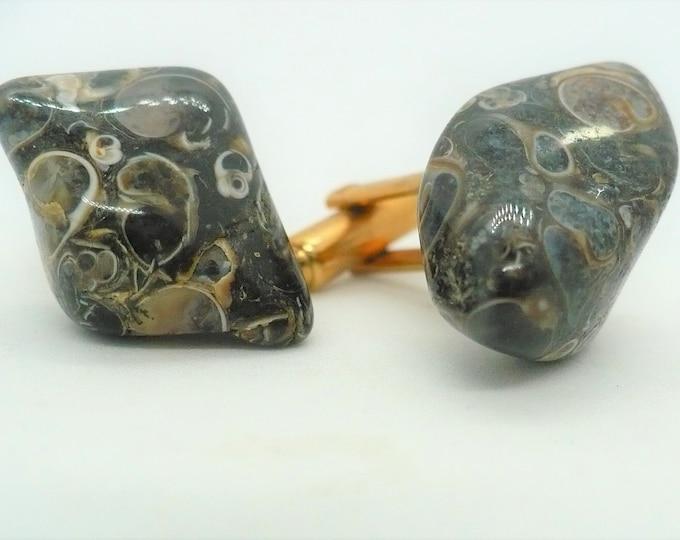 Tumbled Nautilus Ammonite in Matrix Fossil Gemstone Cufflinks