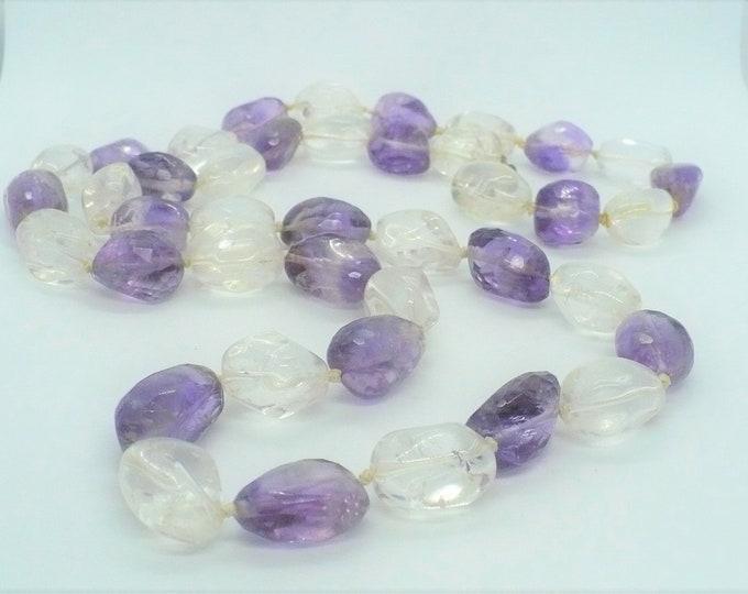 Amethyst Clear Quartz Nugget Bead Necklace 33 inch