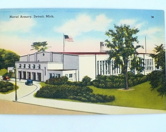 1930s Navy Armory Detroit Michigan Vintage Linen Postcard Unposted