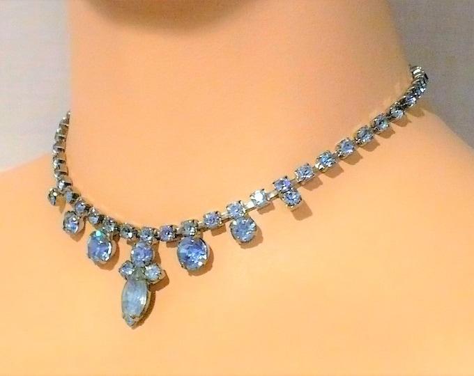 Blue Rhinestone Festoon Necklace 14 inch