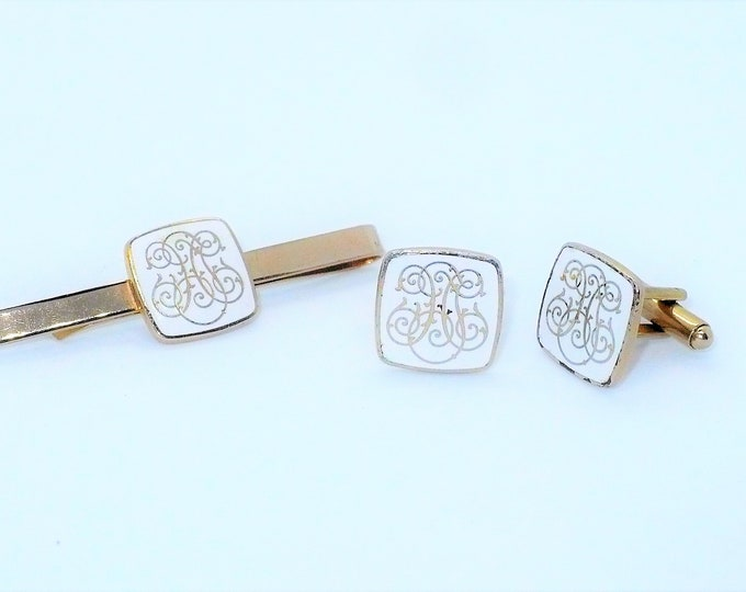 1960's Vintage Hollywood Regency Enamel Gold Tone Cufflinks Tie Clip Set