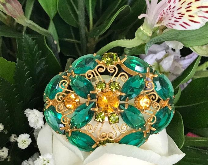 Juliana D&E Green Gold Brooch Designer Vintage Costume Jewelry